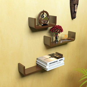 Driftingwood U Shape Floating Wall Rack Shelves Set of 3 - Brown