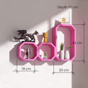 Driftingwood Octagon Shape Storage Display Wall Shelf - Pink