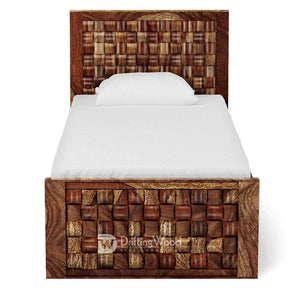 DriftingWood Wooden Single Size Bed for Bed Room | Solid Wood Bed | Sheesham Wood, Light Walnut