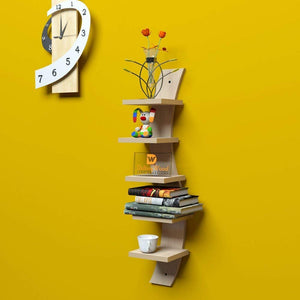Driftingwood Snack Shape 5 Tier Floating Wall Shelf Unit | Douglas Pine Finish