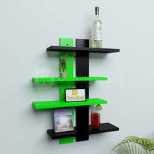 Load image into Gallery viewer, DriftingWood Wooden Ladder Shape 4 Tier Wall Shelf Designer Wall Rack Shelves | Green and Black