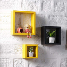 Load image into Gallery viewer, Driftingwood Nesting Square Shelf Set of 3 Shelves - Yellow & Black
