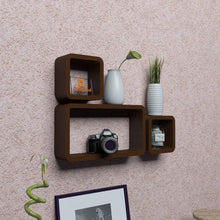 Load image into Gallery viewer, Driftingwood Wall Shelf Set of 2 Cube & 1 Rectangle Wall Rack Shelves - Brown