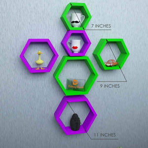 Driftingwood Wall Shelf Rack Hexagon Shape Storage Wall Shelves Set of 6 - Purple & Green