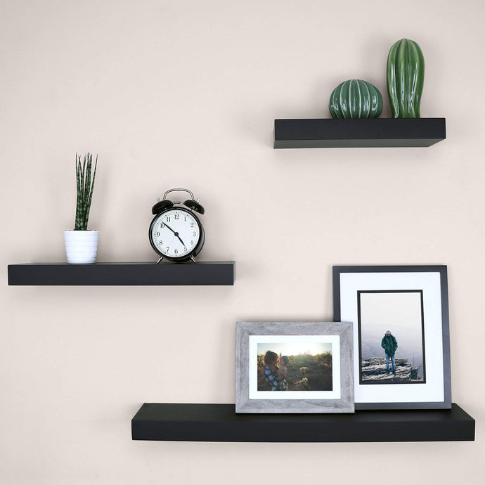 DriftingWood Floating Wall Shelf for Living Room | Set of 3 Wall Shelves | Black