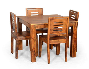 DriftingWood Sheesham Wood Dining Table Set with 4 Chairs for Living Room | 4 Seater Dining Table Set | Honey Finish