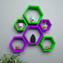 Load image into Gallery viewer, Driftingwood Wall Shelf Rack Hexagon Shape Storage Wall Shelves Set of 6 - Purple & Green