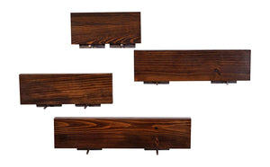 DriftingWood Floating Wall Shelf for Living Room | Set of 4 Wall Shelves | Pine Wood, Espresso Finish