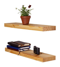 Load image into Gallery viewer, DriftingWood Floating Wall Shelf for Living Room | Set of 2 Wall Shelves | Pine Wood, Size 24 inch | Natural Finish