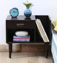 Load image into Gallery viewer, DriftingWood Sheesham Wood Side Shelf Drawer Bedside End Table for Living Room | with Magazine Rack | Walnut Finish