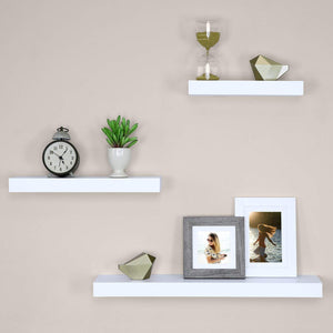 DriftingWood Floating Wall Shelf for Living Room | Set of 3 Wall Shelves | White