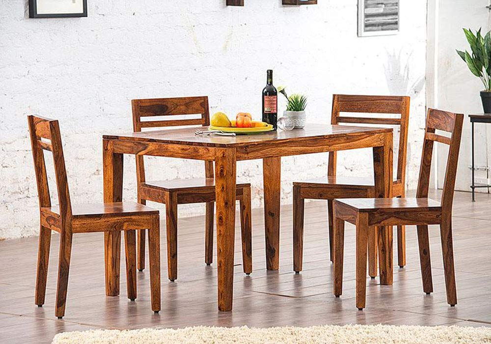 DriftingWood Sheesham Wood Dining Table Set With 4 Chairs For Living Room