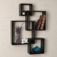 Load image into Gallery viewer, DriftingWood Wall Shelf Rack Set of 4 Intersecting Wall Shelves | Black