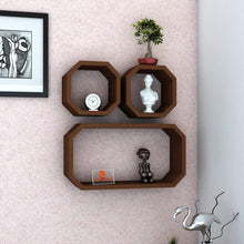 Load image into Gallery viewer, Driftingwood Octagon Shape Storage Display Wall Shelf - Brown