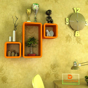 Driftingwood Wall Shelf Set Of 2 Cube & 1 Rectangle Wall Rack Shelves - Orange