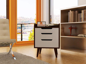 Driftingwood Wooden Bed Side / Side Cabinet In Brown Finish | White Drawers