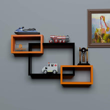 Load image into Gallery viewer, Driftingwood Wall Shelf Rack Set of 3 Intersecting Wall Shelves - Black & Orange