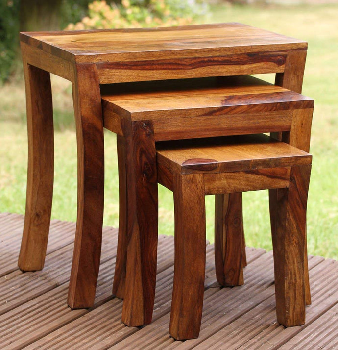 Driftingwood Rectangle Shape Nesting Tables Sheesham Wood Stools Set Of 3 (Brown)