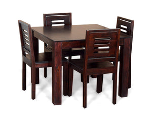 DriftingWood Sheesham Wood Dining Table Set with 4 Chairs for Living Room | 4 Seater Dining Table Set | Walnut Finish