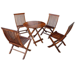 Driftingwood Sheesham Wood Round Dining Table Set and Folding Chairs for Living Room | Set of 5 | Honey Finish