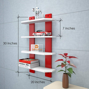Driftingwood Ladder Shape 4 Tier Designer Wall Rack Shelf - White & Red Laminated
