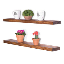 Load image into Gallery viewer, DriftingWood Floating Wall Shelf for Living Room | Set of 2 Wall Shelves | Pine Wood, Size 36 inch | Bourbon Finish