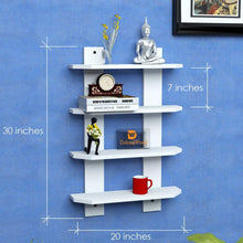 Load image into Gallery viewer, Driftingwood Ladder Shape 4 Tier Designer Book Shelf Wall Rack Shelf - White Laminated