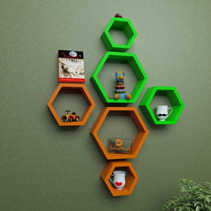 Driftingwood Wall Shelf Rack Hexagon Shape Storage Wall Shelves - Orange & Green