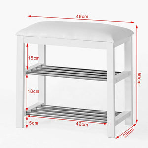 Driftingwood Sheesham Wood 2 Shelves Shoe Rack for Home | Shoe Rack Side Table White