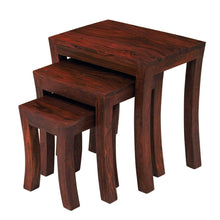 Load image into Gallery viewer, Driftingwood Rectangle Shape Nesting Tables Sheesham Wood Stools Set Of 3 (Brown)