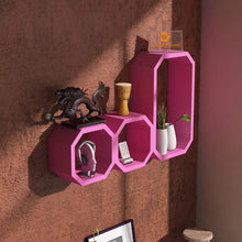 Load image into Gallery viewer, Driftingwood Octagon Shape Storage Display Wall Shelf - Pink