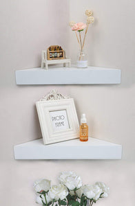 DriftingWood Wooden Floating Corner Wall Shelf for Living Room | Set of 2 Triangle Wall Shelves | White