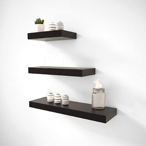 Driftingwood Wall Shelves Floating Wall Racks Set of 3 Shelves | Black