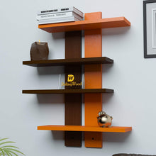 Load image into Gallery viewer, DriftingWood Wooden Ladder Shape 4 Tier Wall Shelf Designer Wall Rack Shelves - Orange & Brown