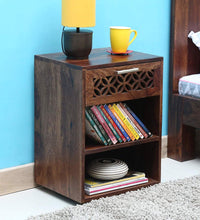 Load image into Gallery viewer, DriftingWood Sheesham Wood Walnut Finish Stroage Bedside End Table for Living Room | 1 Drawer Side Table
