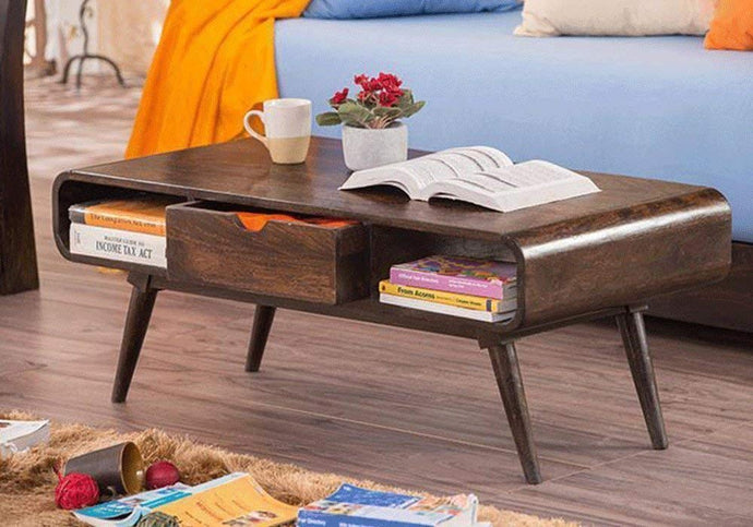 DriftingWood Wooden TV Stand/Coffee Table For Living Room With Foldable Legs And Drawer Storage | Walnut Dark Brown