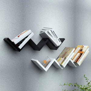 Driftingwood Set of 2 W Shape Wall Mount Zigzag Wall Shelf - Black & White