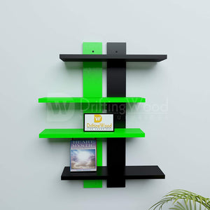 DriftingWood Wooden Ladder Shape 4 Tier Wall Shelf Designer Wall Rack Shelves | Green and Black