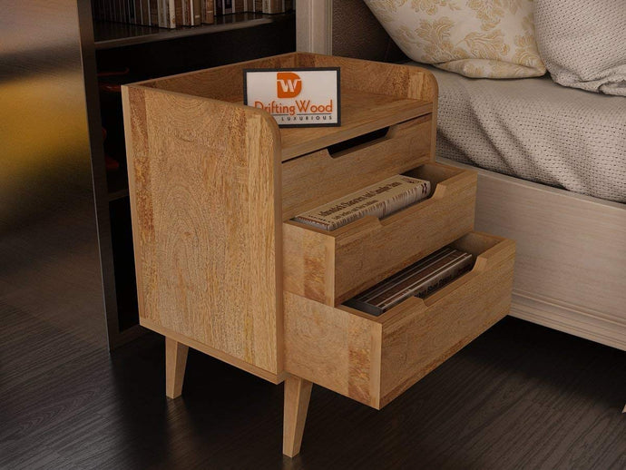 Driftingwood Mango Wood Bed Side/Side Cabinet for Living Room | 3 Drawer Table | Natural Finish
