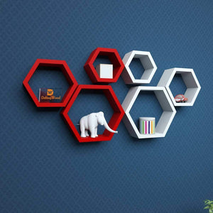 Driftingwood Wall Shelf Rack Hexagon Shape Storage Wall Shelves - Red & White