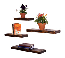 Load image into Gallery viewer, DriftingWood Floating Wall Shelf for Living Room | Set of 4 Wall Shelves | Pine Wood, Dark Brown