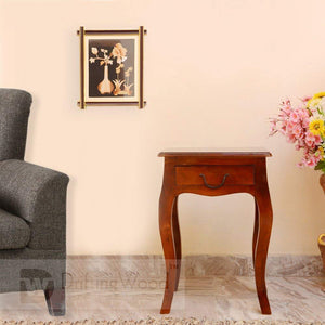 DriftingWood Sheesham Wood Curved Legs End Table For Living Room(Walnut Brown)