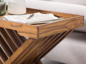 DriftingWood Sheesham Wood Folding Bed Breakfast Tray Table | Bed Coffee Table | Natural Brown