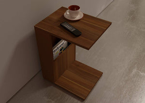 DriftingWood Wooden Bedside End Table with Magazine Holder for Home Living Room | Walnut Finish