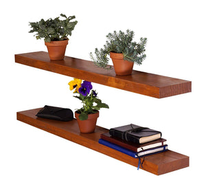 DriftingWood Floating Wall Shelf for Living Room | Set of 2 Wall Shelves | Pine Wood, Size 36 inch | Brown Finish