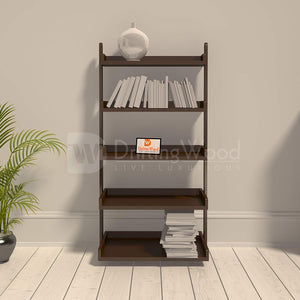 Driftingwood Wooden 5 Tier Ladder Shelf Bookcase for Living Room |Bookcase Divider | Brown Finish