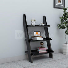 Load image into Gallery viewer, Driftingwood MDF Wooden Ladder Shelf Bookcase for Living Room - Glossy Finish, Black
