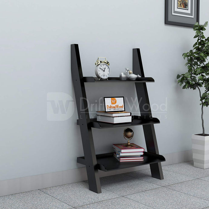 Driftingwood MDF Wooden Ladder Shelf Bookcase for Living Room - Glossy Finish, Black