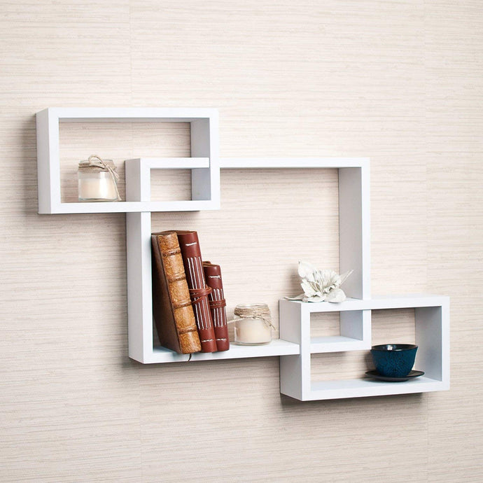 Driftingwood Wall Shelf Rack Set of 3 Intersecting Wall Shelves - White