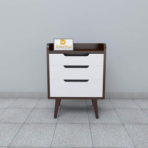 Driftingwood Mango Wood Bed Side/Side Cabinet for Living Room | 3 Drawer Table | Brown & White Finish